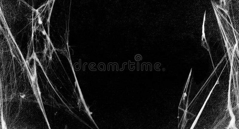 Spiderwebs isolated on black grunge background. Halloween party. stock illustration