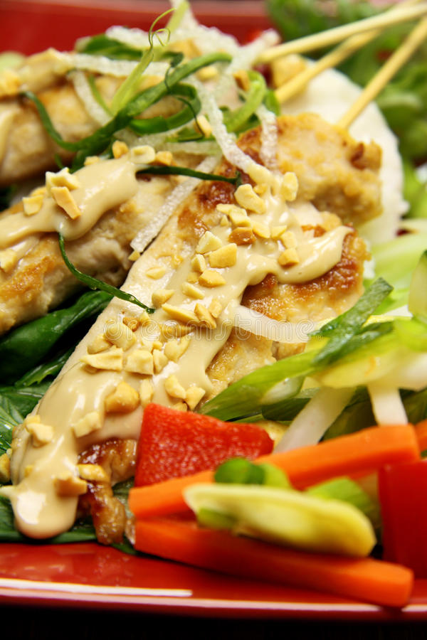 Spiedi di Satay del pollo immagini stock