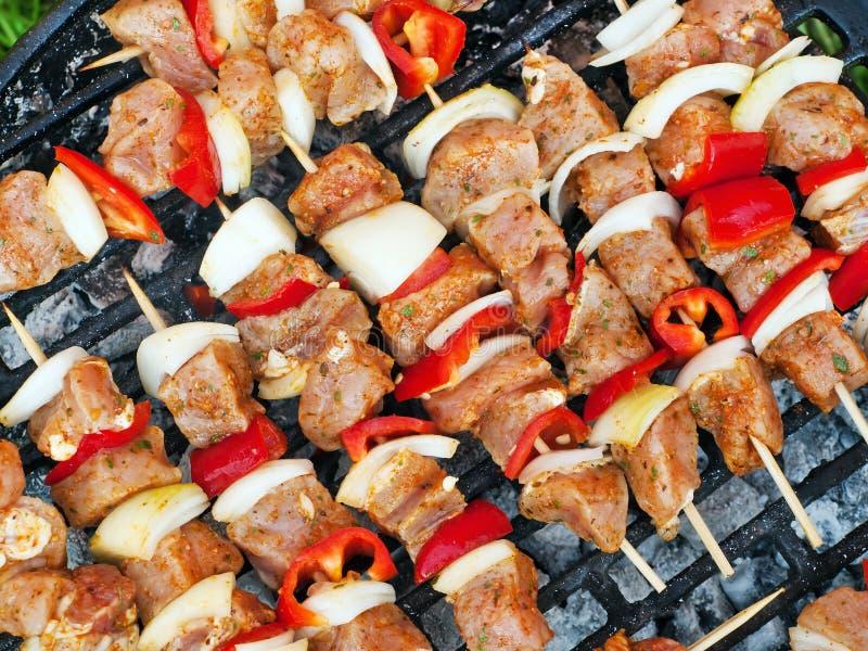 Spiedo del pollo del BBQ fotografia stock