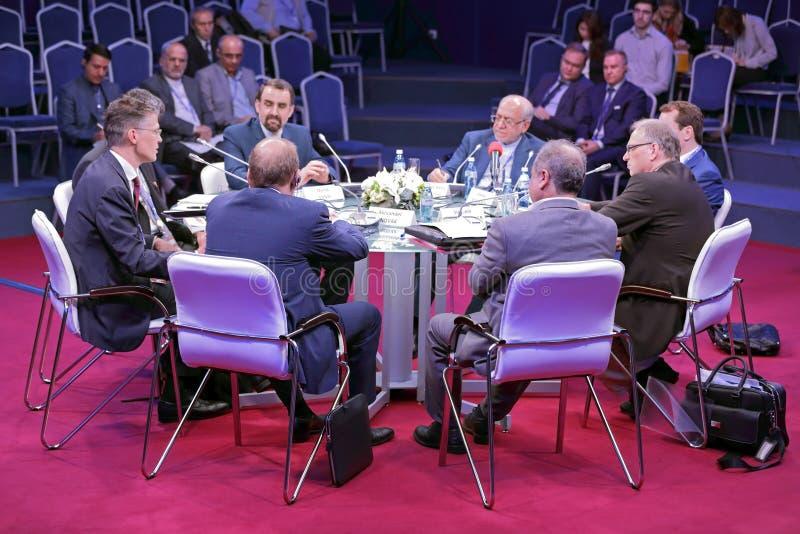 SPIEF-2016. SAINT-PETERSBURG, RUSSIA - JUN 16, 2016: St. Petersburg International Economic Forum SPIEF-2016. Roundtable Life after Sanctions: Re-Integrating Iran stock photography