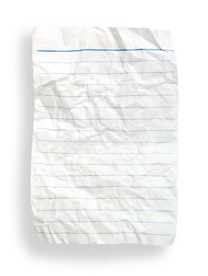 Spiegazzi il documento allineato bianco (con il percorso di residuo della potatura meccanica) fotografia stock libera da diritti