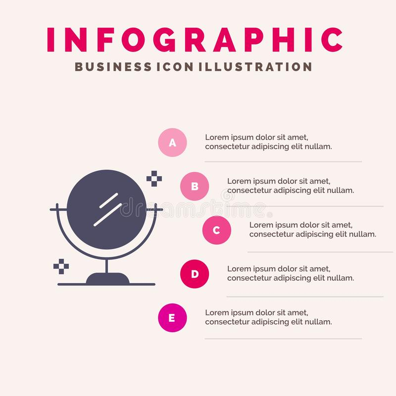 Spiegel, het Schoonmaken, Schoon Stevig Pictogram Infographics 5 de Achtergrond van de Stappenpresentatie vector illustratie