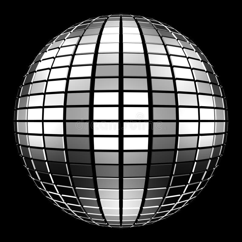 Spiegel-Kugel der Disco-3D auf schwarzem Hintergrund stock abbildung