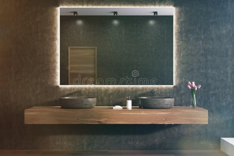Spiegel op een zwarte badkamersmuur, gestemde gootstenen royalty-vrije illustratie