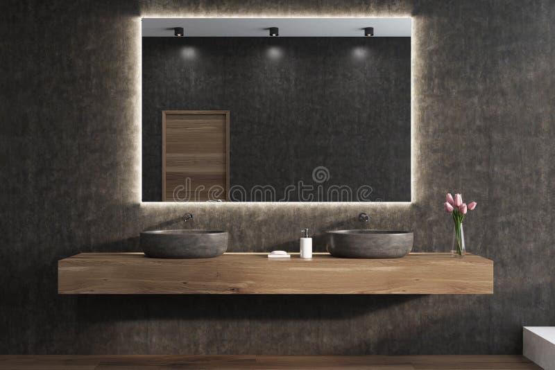 Spiegel op een zwarte badkamersmuur, gootstenen stock illustratie