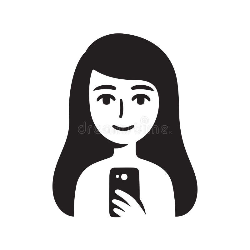 Spiegel selfie meisje vector illustratie