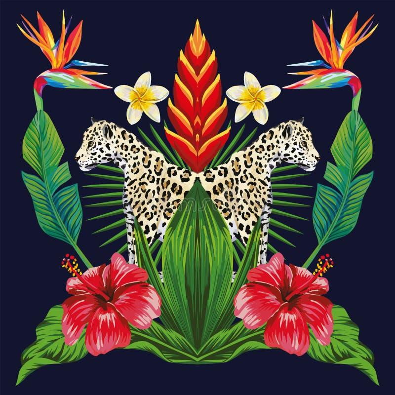 Spiegel tropische samenstelling van dier en planten donkerblauwe bac vector illustratie