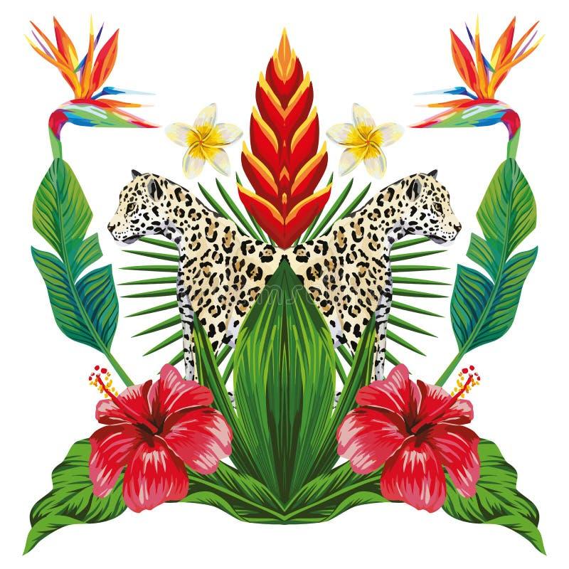 Spiegel tropische samenstelling van dier en planten witte backgro royalty-vrije illustratie
