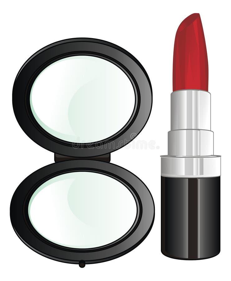 Spiegel und Lippenstift vektor abbildung