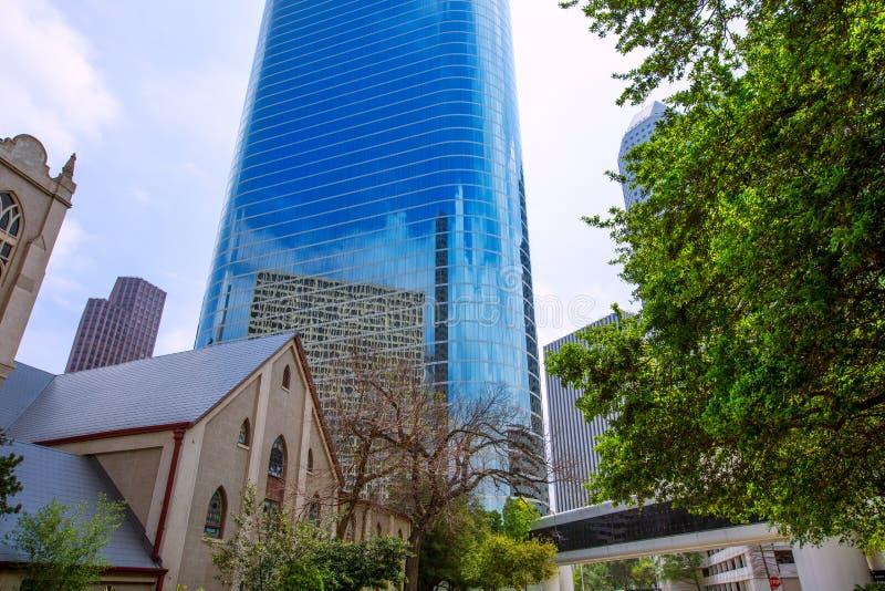 Spiegel van de binnenstad van de de wolkenkrabbers disctict de blauwe hemel van Houston royalty-vrije stock foto's