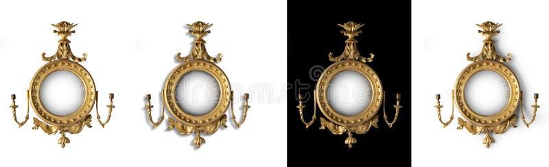 Spiegel van de spiegel de antieke ronde zaal stock afbeelding