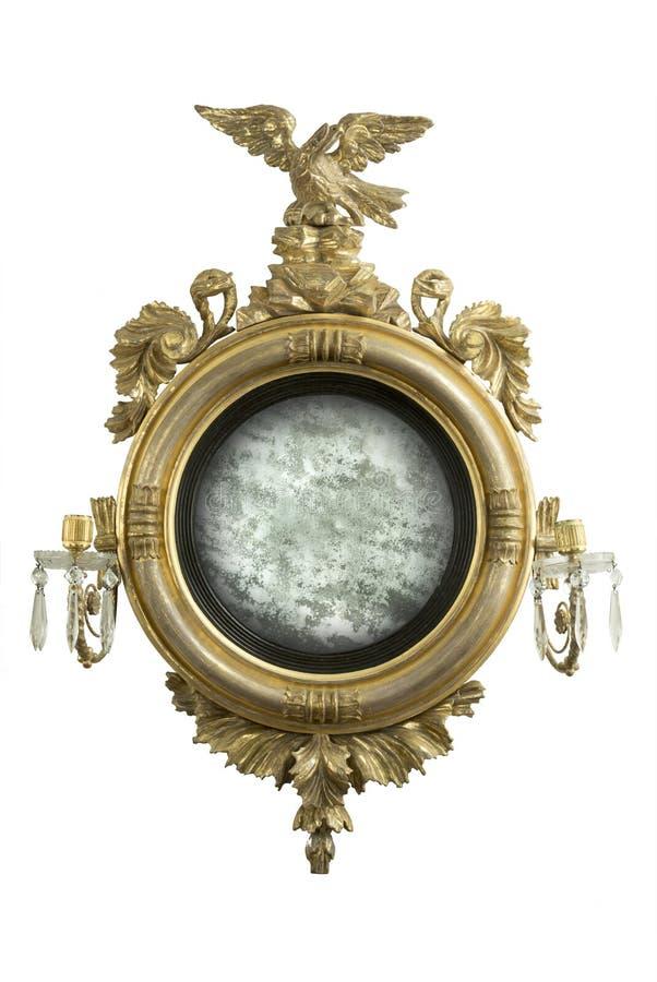 Spiegel van de spiegel de antieke ronde zaal met oud spiegelglas stock foto