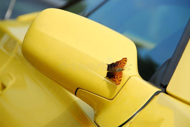 Spiegel van gele sportwagen stock foto's