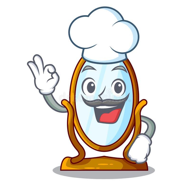 Spiegel van het chef-kok de grote beeldverhaal in houten kader stock illustratie