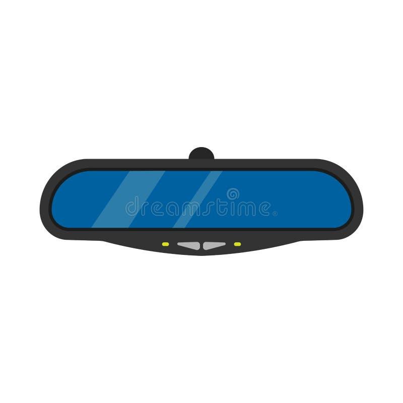 Spiegelautoautomobil-Antriebsvektorillustration Selbsttransport der hinteren Ansicht lokalisiert hinter Glasstraße Innere Rahmeni lizenzfreie abbildung