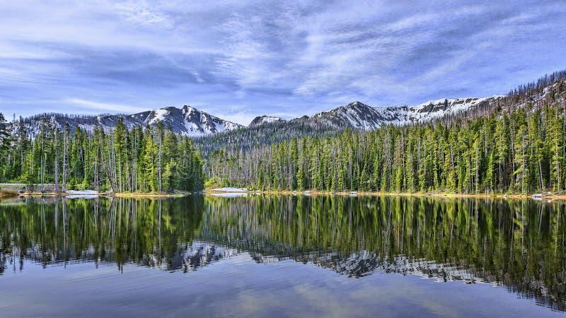 Spiegelbeeld Meer Sylvan Wyoming stock afbeelding