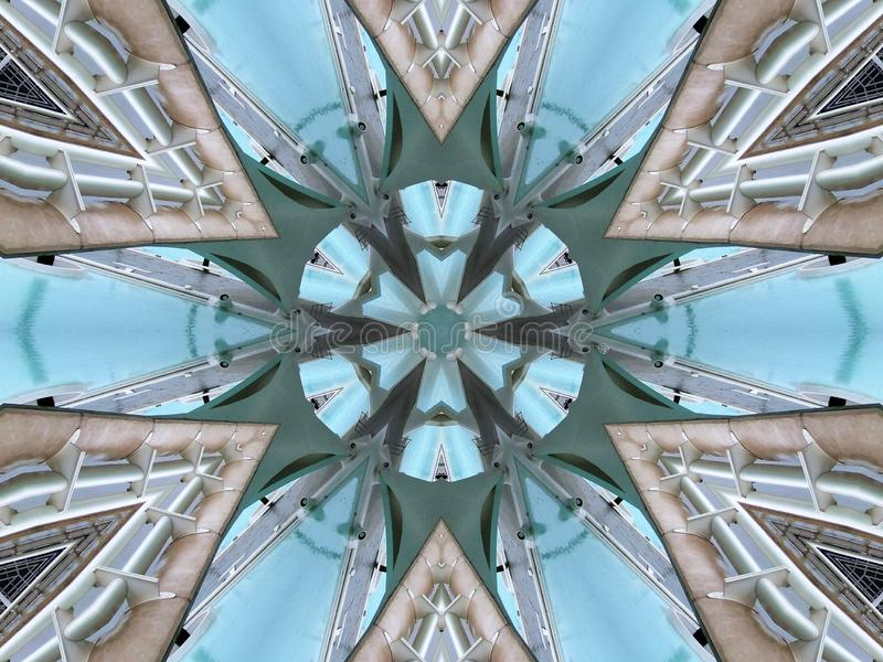 Spiegeleffect tussen twee bruggen royalty-vrije illustratie