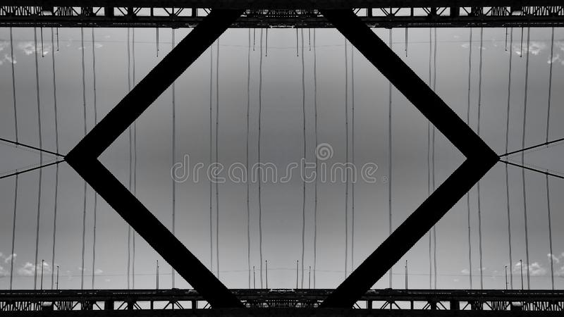 Spiegeleffect van een structuur van de staalbrug stock illustratie