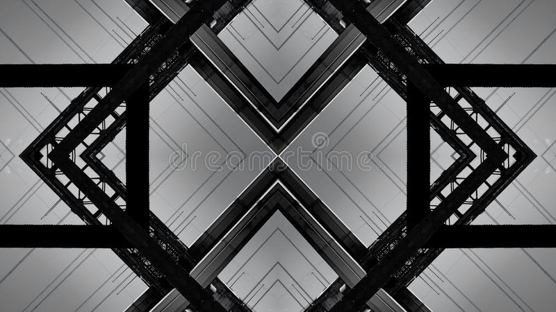 Spiegeleffect van een structuur van de staalbrug royalty-vrije illustratie