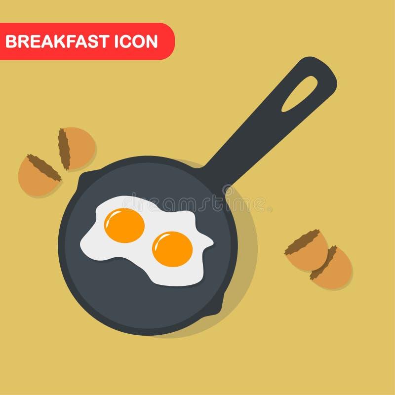 Spiegelei auf Wanne, Teller zum Frühstück, Mittagessen Mahlzeit mit Eigelb Beschneidungspfad eingeschlossen Vektorkarikaturdesign lizenzfreie abbildung