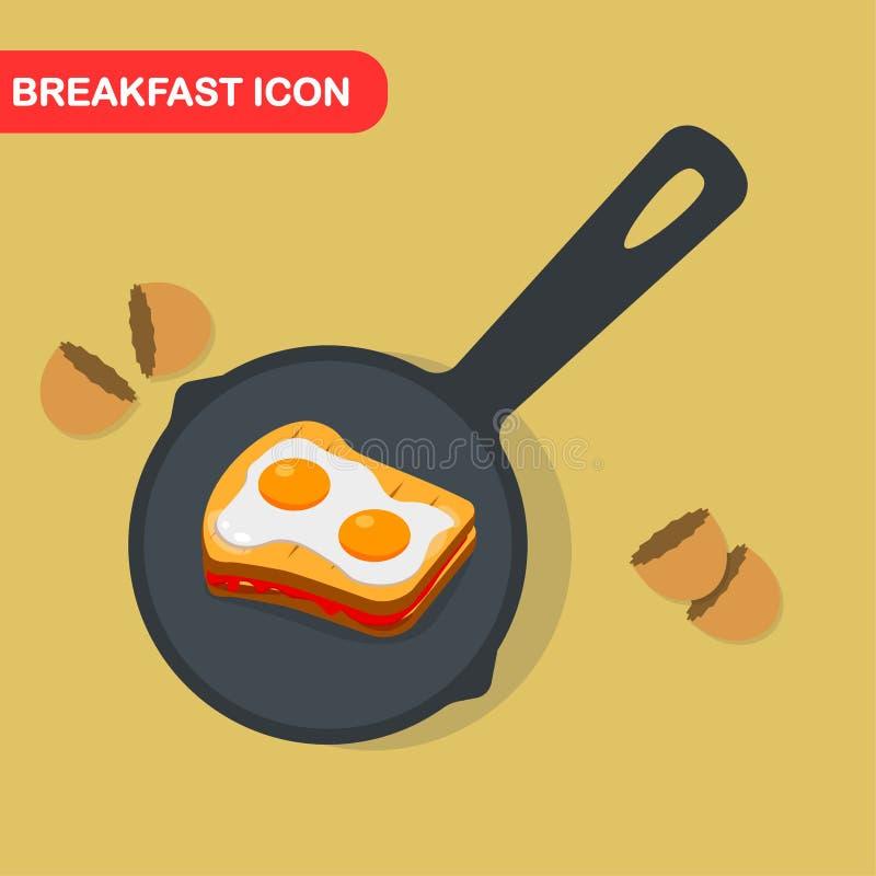 Spiegelei auf Wanne, Teller zum Frühstück, Mittagessen Mahlzeit mit Eigelb Beschneidungspfad eingeschlossen Vektorkarikaturdesign stock abbildung