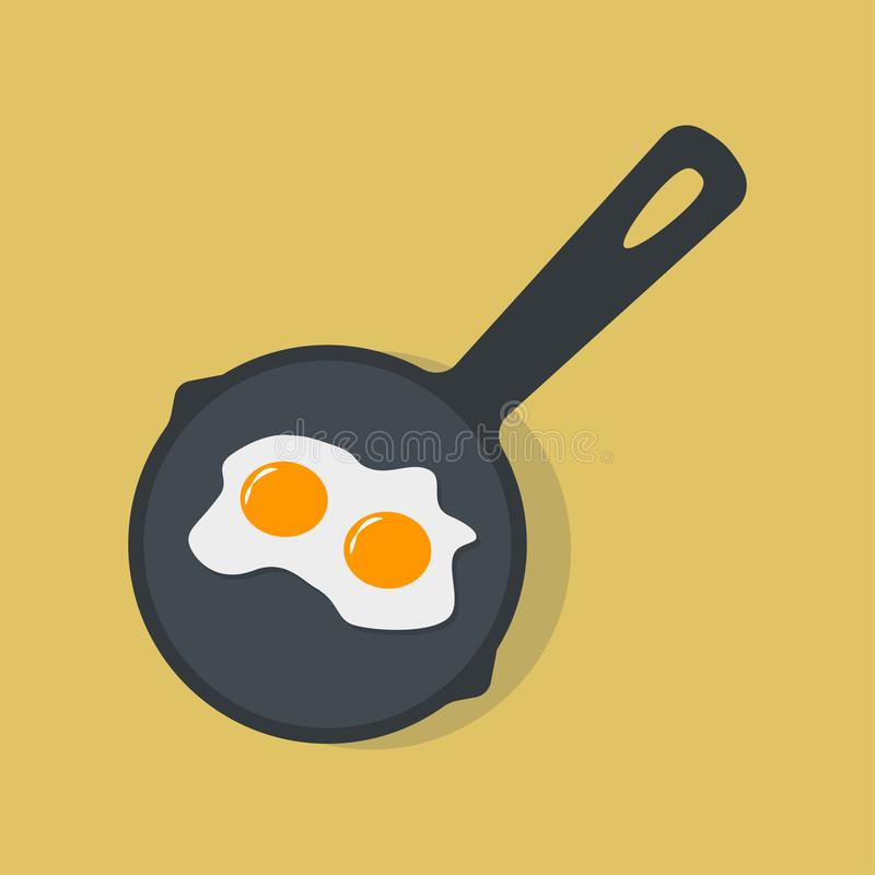 Spiegelei auf Wanne, Teller zum Frühstück, Mittagessen Mahlzeit mit Eigelb Beschneidungspfad eingeschlossen Vektorkarikaturdesign vektor abbildung