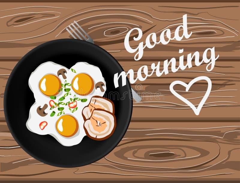 Spiegeleier und Draufsicht des Speckes über Holztisch mit Beschriftung des guten Morgens stock abbildung