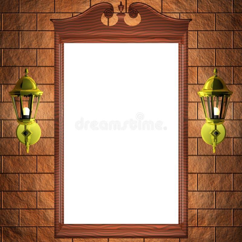 Spiegelfeld auf der Wand lizenzfreie abbildung