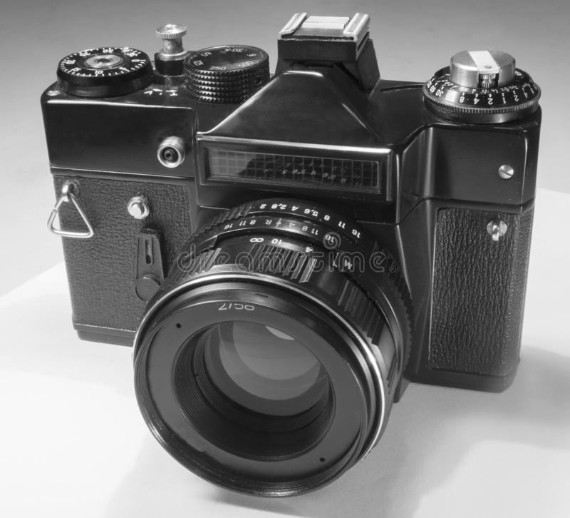 Spiegelfilmkamera mit externer Fotozelle und manuelle Belichtungssteuerung und -Wechselobjektive stockfotografie