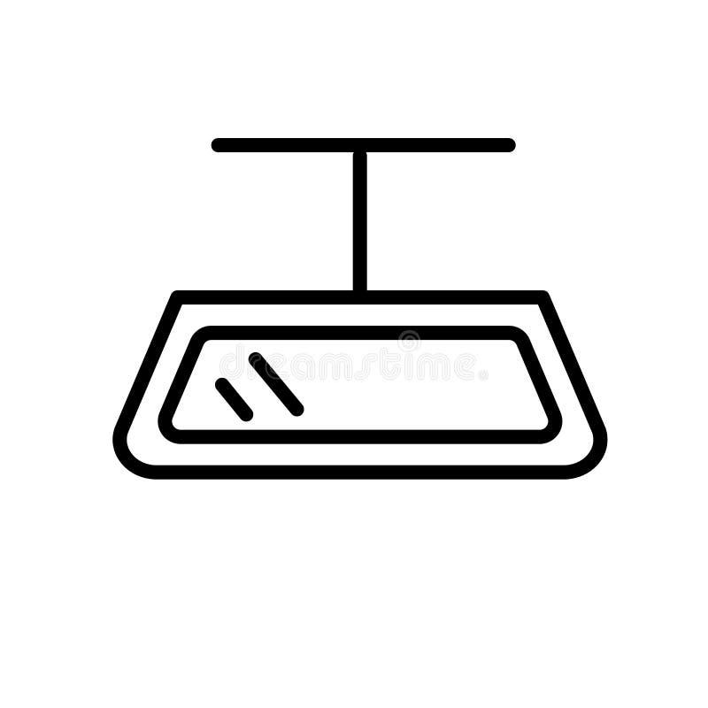 Spiegelikonenvektor lokalisiert auf weißem Hintergrund, Spiegelzeichen, linearem Symbol und Anschlaggestaltungselementen in der E vektor abbildung