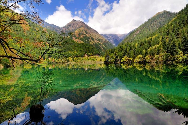 Spiegelmeer, Jiuzhaigou royalty-vrije stock foto