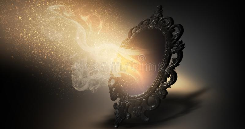 Spiegeln Sie magisches, Wahrsagerei und Erfüllung von Wünschen wider vektor abbildung