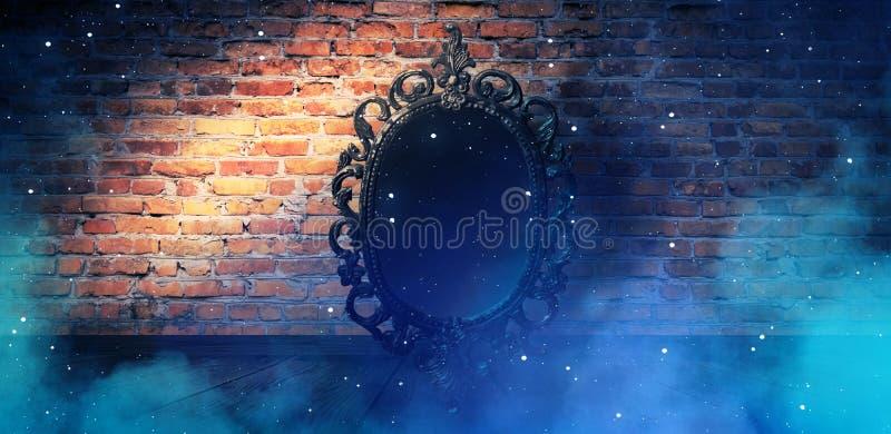 Spiegeln Sie magisches, Wahrsagerei und Erfüllung von Wünschen wider Backsteinmauer mit dickem Rauche, lizenzfreie abbildung