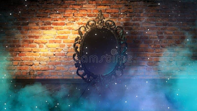 Spiegeln Sie magisches, Wahrsagerei und Erfüllung von Wünschen wider Backsteinmauer mit dickem Rauche, stock abbildung