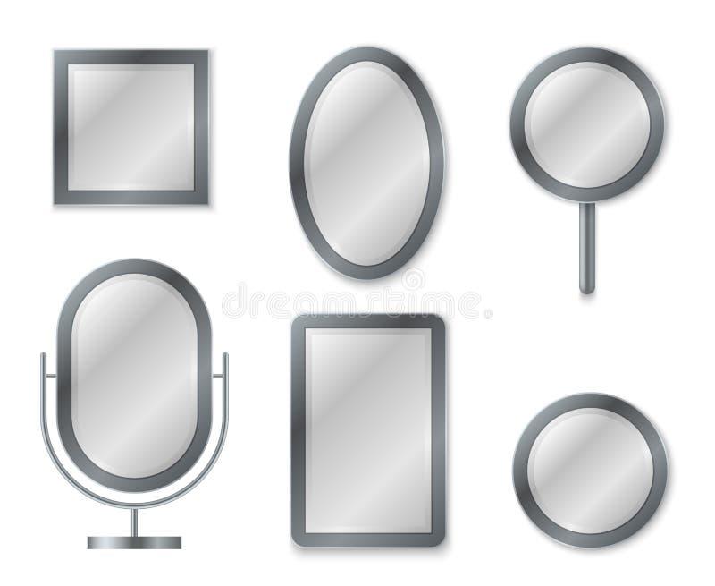 Spiegelreeks Het weerspiegelen van van het de spiegelsglas van de bezinningsoppervlakte realistisch leeg van het het decorkader d royalty-vrije illustratie