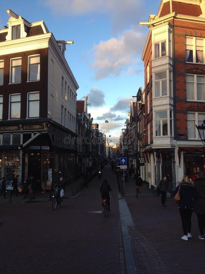 Spiegelstraat Amsterdam winter evening stock photo