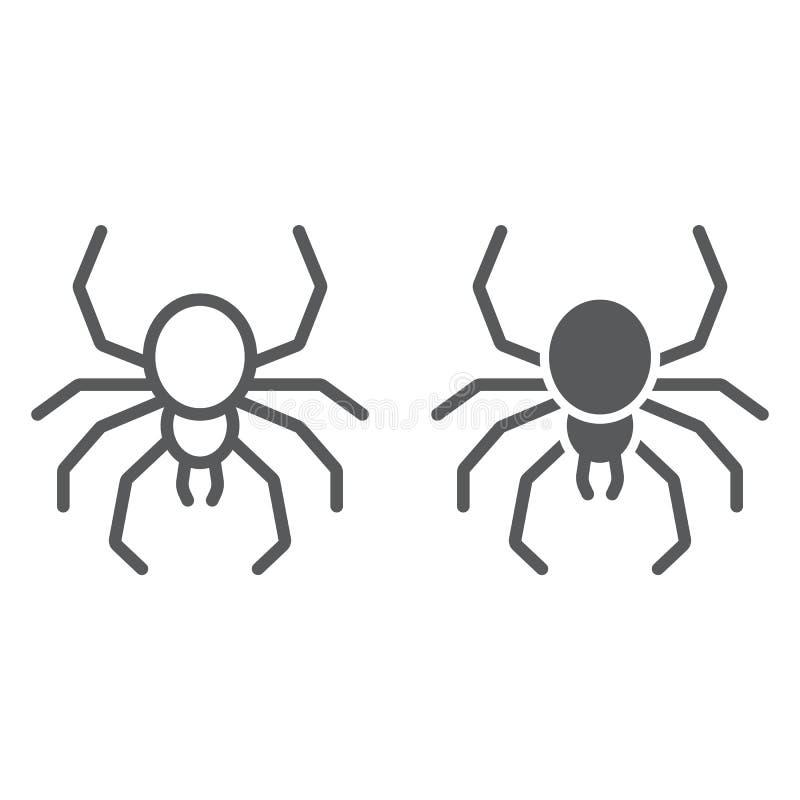 Spiegleine- und Glyphsymbol, Spooky und Tier, arachnid-Zeichen, Vektorgrafiken, ein lineares Muster auf weißem Hintergrund stock abbildung