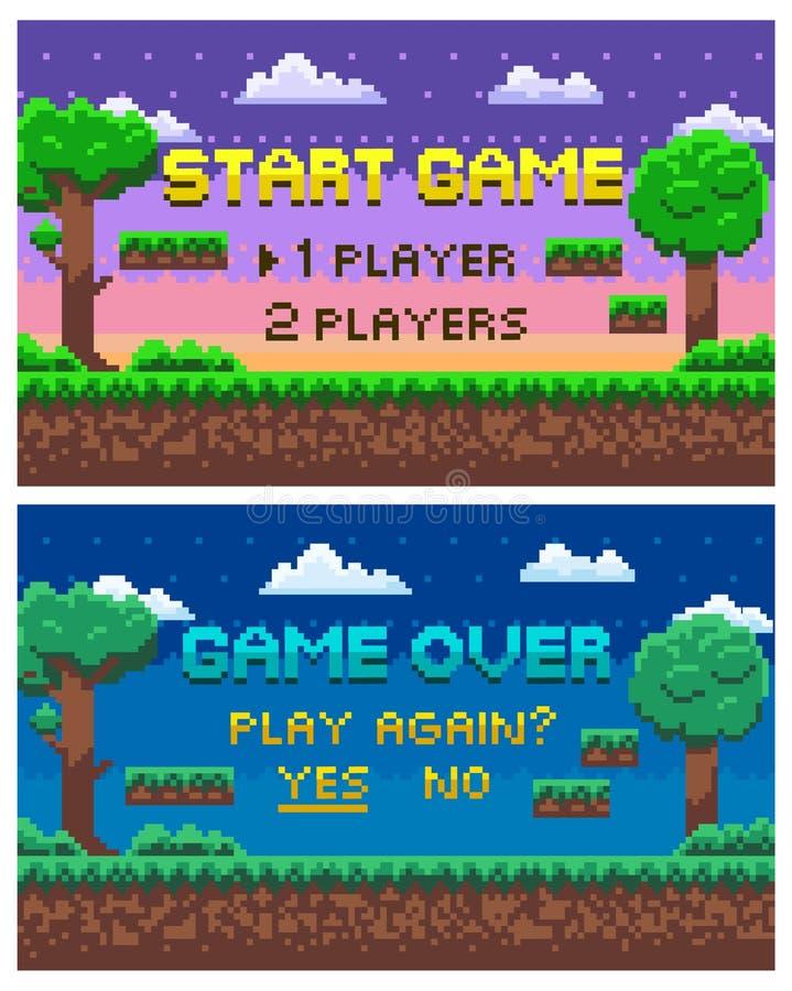 Spiel über, gebissener Grafik-Satz der Pixel-Landschaft8 stock abbildung