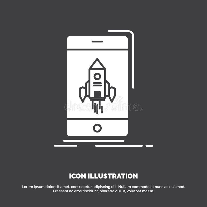 Spiel, Spiel, Anfang, Mobile, Telefon Ikone Glyphvektorsymbol f?r UI und UX, Website oder bewegliche Anwendung lizenzfreie abbildung