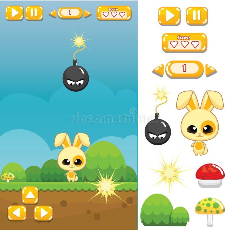 Spiel-Anlagegut: Bunny Jump und Lauf lizenzfreies stockfoto