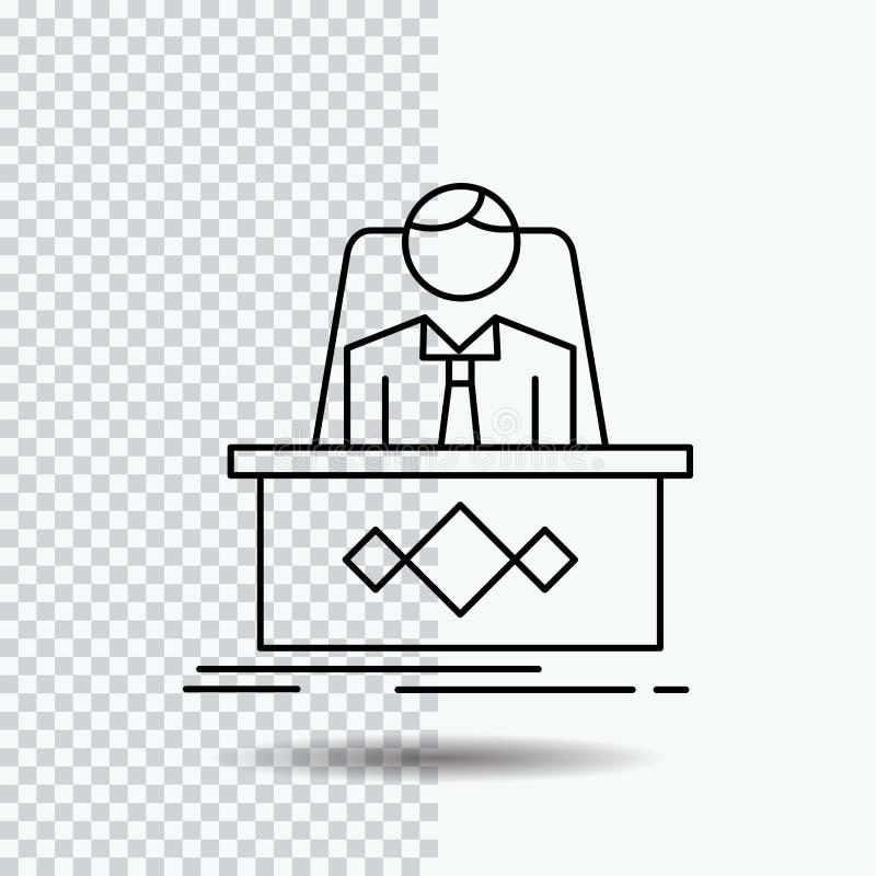 Spiel, Chef, Legende, Meister, CEO Line Icon auf transparentem Hintergrund Schwarze Ikonenvektorillustration lizenzfreie abbildung