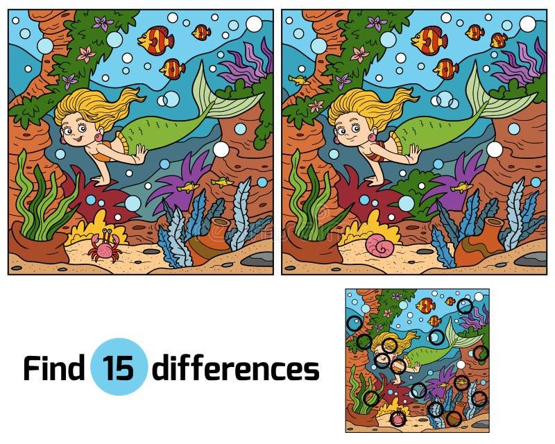 Spiel für Kinder: Entdeckungsunterschiede (kleine Meerjungfrau) lizenzfreie abbildung