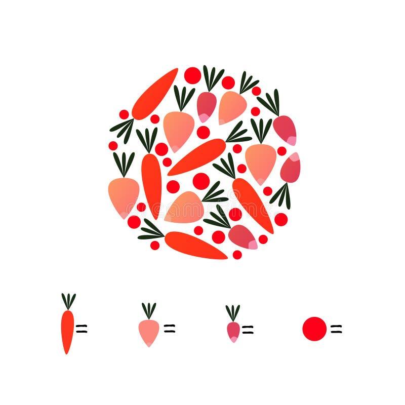 Spiel für Kinder, zählend, Karotten, Gemüse stock abbildung