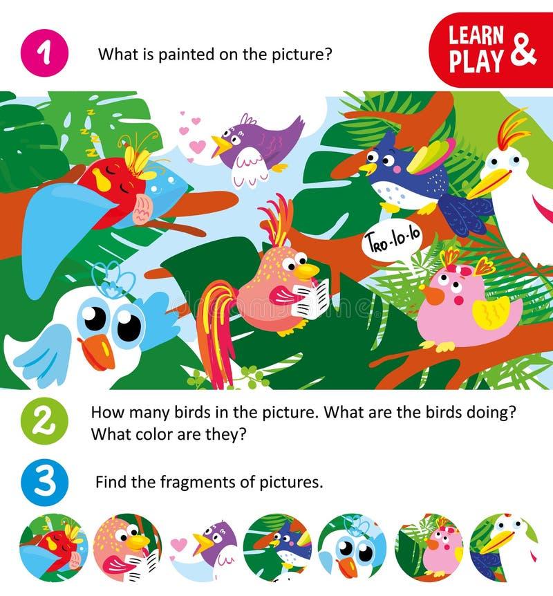 Spiel für kleine Kinder Suchfragmente Karikaturvögel auf den Bäumen, die verschiedene Sachen tun Für Kinderzeitschriften stock abbildung