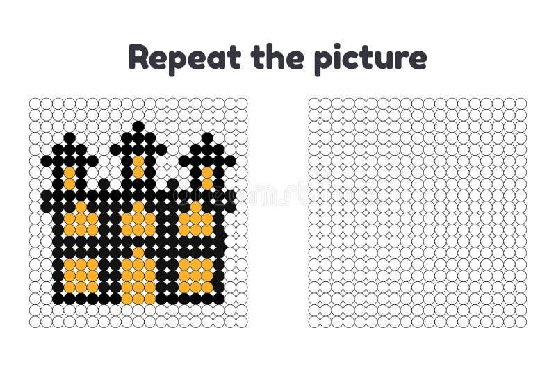 Spiel für Vorschulkinder Wiederholen Sie das Bild Malen Sie die Kreise Halloween Schloss lizenzfreie abbildung