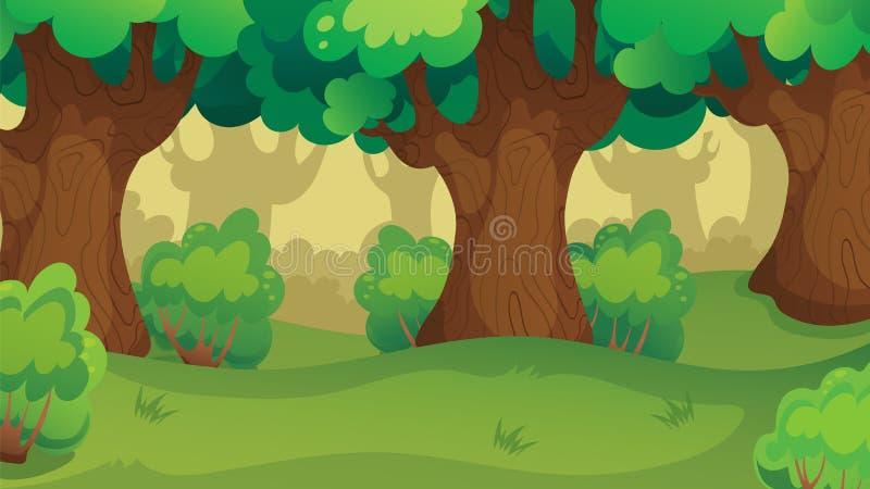 Spiel Forest Oakwood Landscape lizenzfreie abbildung