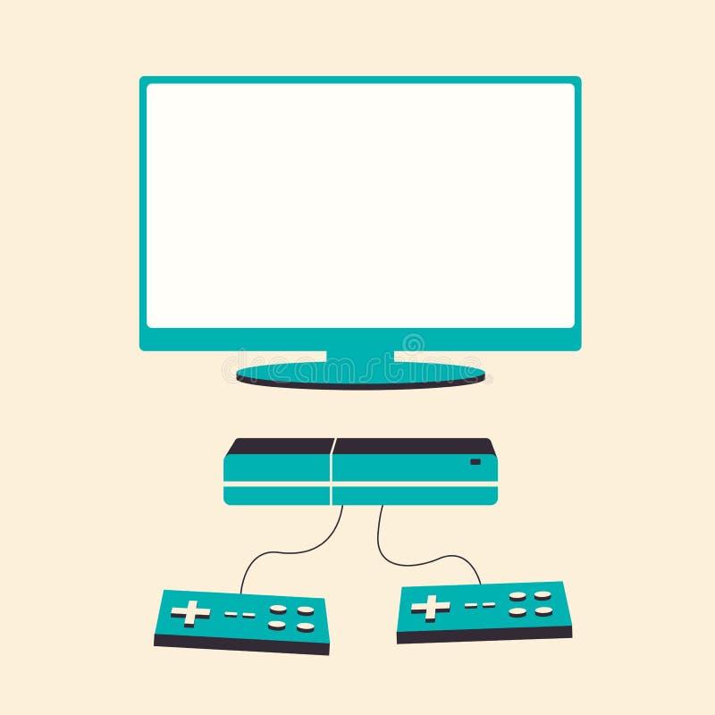 Spiel-Konsole Flache Illustration des Vektors Materielles Design lizenzfreie abbildung