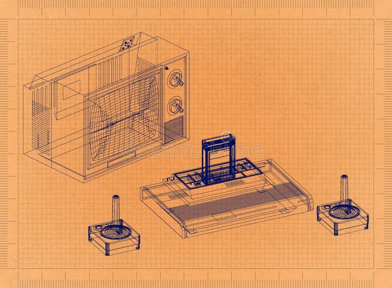 Spiel-Konsole - Retro- Plan lizenzfreie abbildung