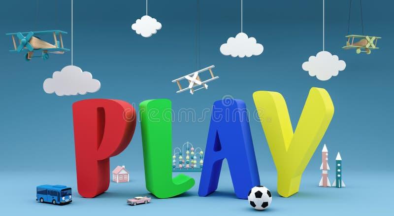 Spiel mit Spielwaren 3d übertragen stock abbildung