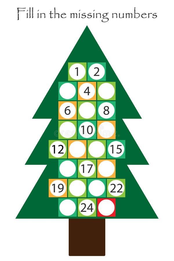 Spiel mit Weihnachtsbaum für Kinder, füllen die fehlenden Zahlen, Einführungskalender, Ausbildungsspiel für Kinder, Schularbeitsb lizenzfreie abbildung